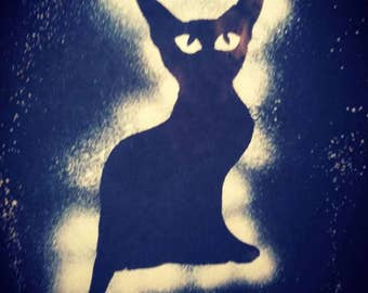 Black Cat Bleach Dyed Cosmic Visions Extraterrestrial Beings Stars Black Tie Dye size XLarge