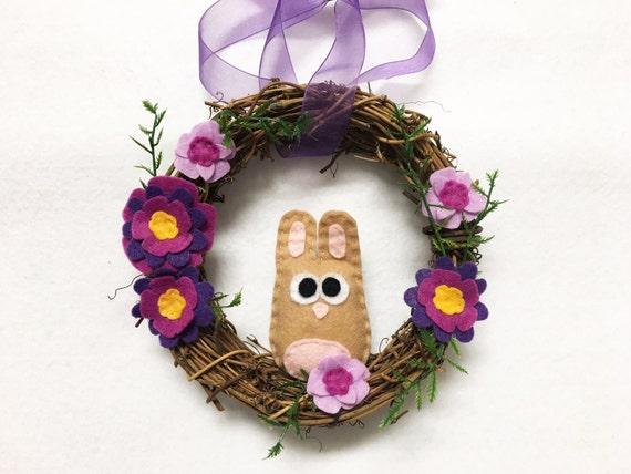 Bunny Wreath, Spring Wreath, Purple Flowers, Summer Door hanger, Hostess Gift, Housewarming, Wall Art, Wall Hanging