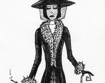 Miss Claudia - Original Pen Illustration