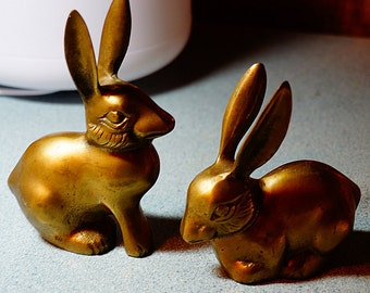 Vintage Pair of Brass Rabbits, Wild Hare Brass Figurines, Two Brass Hares