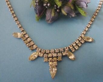 Vintage Kramer Rhinestone Necklace / Wedding Necklace