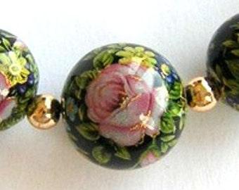 NEW ITEM Beautiful Japanese Tensha Bead TRIO: Pink Rose Black