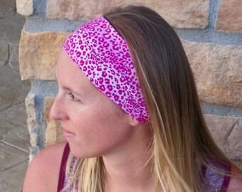 Pink Animal Print Sport Headband / Running Headband / Leopard Stretch Headband/ Comfortable Hairband/ Best Selling Headband