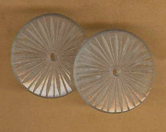 vintage glass findings camphor glass FROSTED ETCHED GLASS with hole in middle, two pieces, camphor glass