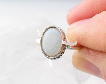 Australian Opal Ring, Boho Jewelry, Sterling Silver Ring, Custom Jewelry, Made to Order, Choose Your Size