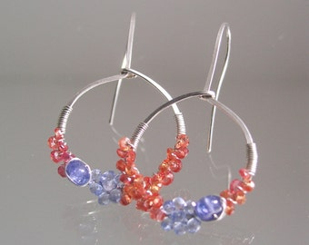 Blue and Orange Sapphire Sterling Silver Hoops, Tanzanite Wire Wrapped Earrings, Lightweight, Everyday Jewelry, Original Design, Signature