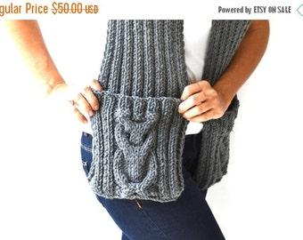 WINTER SALE Dark Gray Owl Scarf  With Pockets by Afra