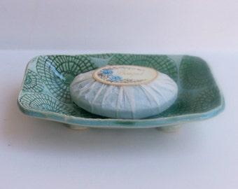Ceramic Soap Dish, Footed, Handmade