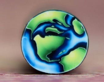 MINI Planet Earth Polymer Clay Circle Cane (41ee)