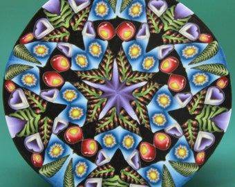 JUMBO Polymer Clay Kaleidoscope Cane, 2inch length -'Jungle Journey' (26A)