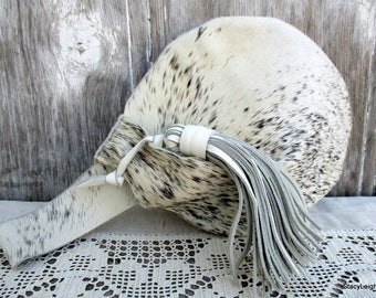 Wristlet in Salt and Pepper Hair On Cowhide Leather by Stacy Leigh