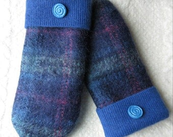 Blue Plaid Mittens, Sweater Wool Mittens, Eco-Friendly Lined Felted Wool Mittens
