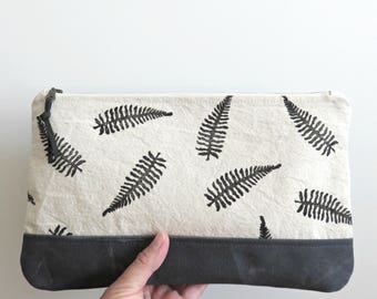 Fern Print and Waxed Canvas Clutch, Large Zip Clutch, Hand Printed Fabric and Waxed Canvas Purse