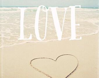 Beach photography, love heart, typography wall art, beach wall art, blue, aqua, waves, summer, ocean photography, beach decor - Beach Love
