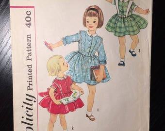 "Girl's 1960's Dress Simplicity Pattern #3132 Sz 1 Bust 20"" - OH - Vintage Simplicity / 60s Simplicity / 60s / Girl's Dress"