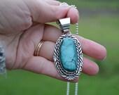 Huge Vintage sterling silver Navajo turquoise necklace - chimney butte