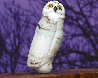 Snowy Owl Lampwork glass wildlife sculpture and bead by Cleo Dunsmore Buchanan - GramaTortoise 42 art sculpture wildlife art collectible