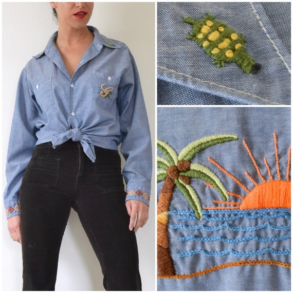 Vintage 70s Blue Chambray Embroidered Button Down Long Sleeved Shirt