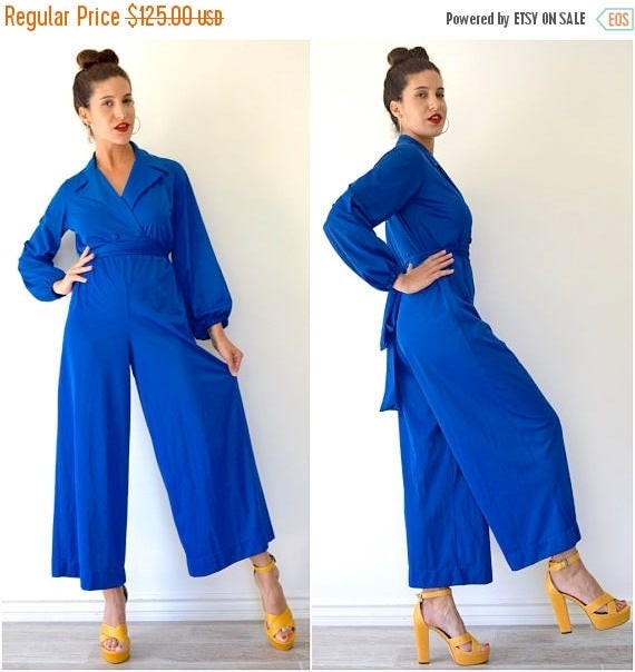 SPRING SALE / 30% off Vintage 60s 70s Vanity Fair Royal Blue Palazzo Pant Lounging Jumpsuit (size xs, small)