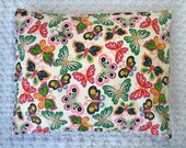 The Perfect Toddler Pillow ... Colorful Floral Polka Dot Butterflies on White Flannel ... Original Design by Sew Cinnamon