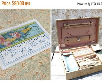 RESERVERD to Kristen  ON SALE 20% Vintage Antique 1930/30s French sewing case toy /artcraft game/box /tapestry box/sewing box