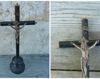 Vintage Antique 1900 French cross crucifix black wood  Napoleon III religious catholica