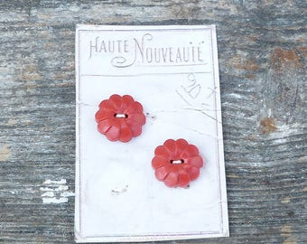 Vintage Antique /1930s French red buttons set of 2 on a card