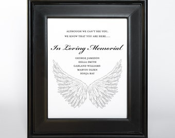Memorial Sign Printable DIY Customized In Loving Memory Guest Memory Table Choose Size Custom Color and fonts