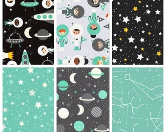 Astronaut Bedding - Outer Space Bedding - Astronaut Quilt - Astronaut Blanket - Outer Space Nursery - Astronaut Gift - Baby Bedding - Mint