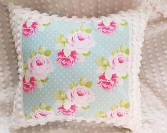 Vintage white popcorn chenille country roses throw pillow shabby chic farmhouse decor