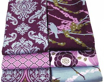 Joel Dewberry FAT QUARTER Bundle - AVIARY 2 - Plum Lilac - Free Spirit Fabric - 6 pcs