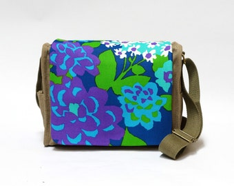 Lilian - Canvas Shoulder Bag | retro saddle bag | Vintage Fabric Upcycled Handbag by EllaOsix