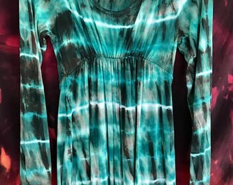 Handdyed green and copper ice dyed elven jersey dress M/L