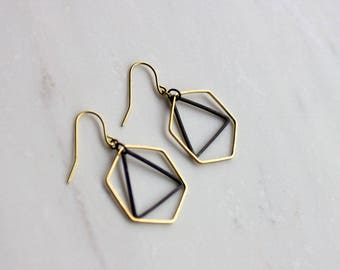 Hexagon and triangle earrings, honeycomb earrings, black and gold earrings, gift  her, Bridesmaid earrings, Christmas gift, stocking stuffer