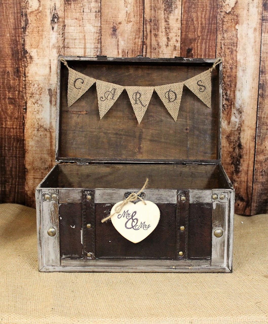 Wedding Card Box With Burlap Banner Rustic Shabby Chic Decor