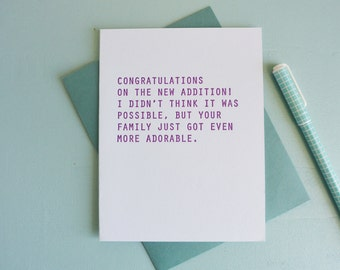 Letterpress Greeting Card - Baby Card - Adorable Family - GRE-510