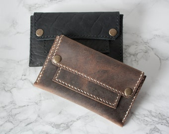 SALE // Double Snap Wallet / Leather Wallet / Leather Card Wallet / Mens Wallet / Boyfriend Gift / Husband Gift / Card Holder
