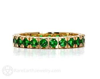 14K Tsavorite Garnet Ring Eternity Band Birthstone Ring Anniversary Band Stacking Ring White Yellow Rose Gold