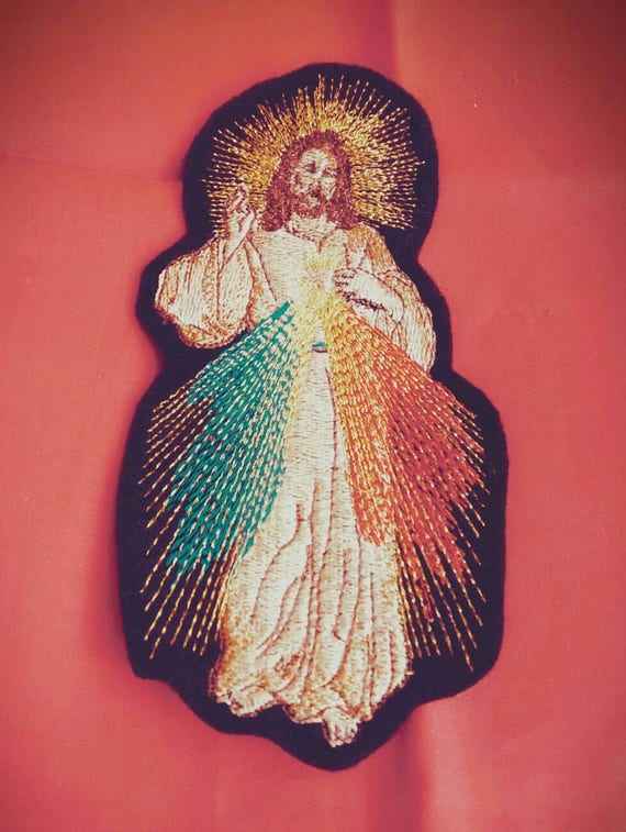 Jesus Divine Mercy  iron on patch mexican folkart
