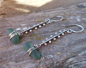 Green Sea Glass Pinned Earrings