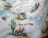 Vintage Arizona scarf Cactus desert Souvenir scarf vintage 50s tourist scarf Tucson Canyon 50s silk scarf Cowboy Cowgirl Bucking Bronco