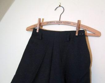 Hollywood waist 50s Pants Vintage Black Wool pants Dropped belt loops 1950s Black Side Zip Pants 50s wool slacks  XS