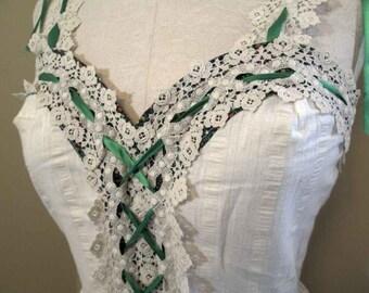 70s Vintage Calico Dress Corset Cream Lace Dress Sundress 70s Maxi Boho Bride Vintage Wedding Bridesmaid Crochet lace beach maxi dress XS