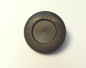 Vintage Large Celluloid Accent Button - Warm and Pearly Olive Green - Perfect for Hand Knits and Home Decor