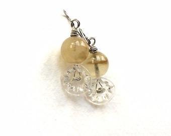Frosty Clear Crystal Vintage Button Earrings - Fancy Jewelry