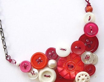 Summer Sale Pomegranate Pink and White Vintage Button Statement Necklace