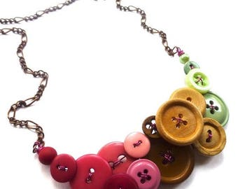 Summer Sale Color Blocking Necklace with Magenta, Pink, Brown, Tan, Mint Green Buttons