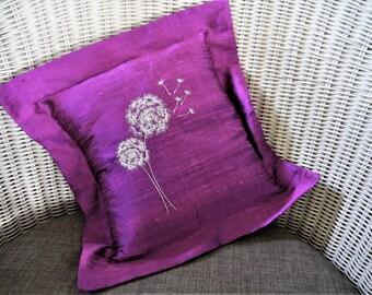Purple Slub Silk cushion cover with Two Dandelions - Handmade - Oxford frill