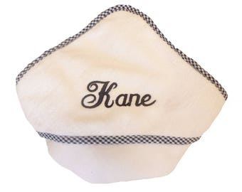 Hooded Towel for Baby with Gingham Trim and Matching Name or Monogram Custom Embroidered