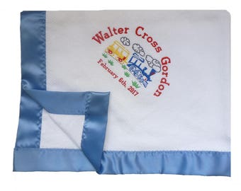 Cotton Basketweave Blanket with Cornflower Blue True Satin Binding Custom Embroidered with Train and Personalized